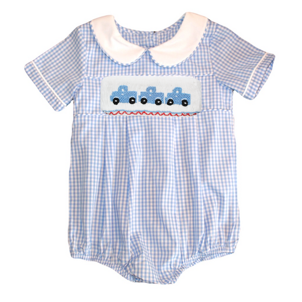 Swap-A-Smock Boys Collared  Bubble - Light Blue Gingham