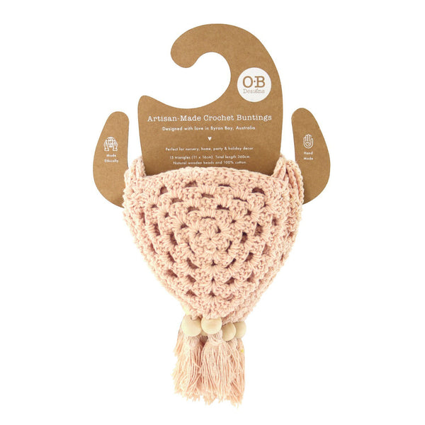 Peach Crochet Bunting Flag Decor Range O.B. Designs Baby Toys - Plush Toys - Crochet Blankets Ethically Made