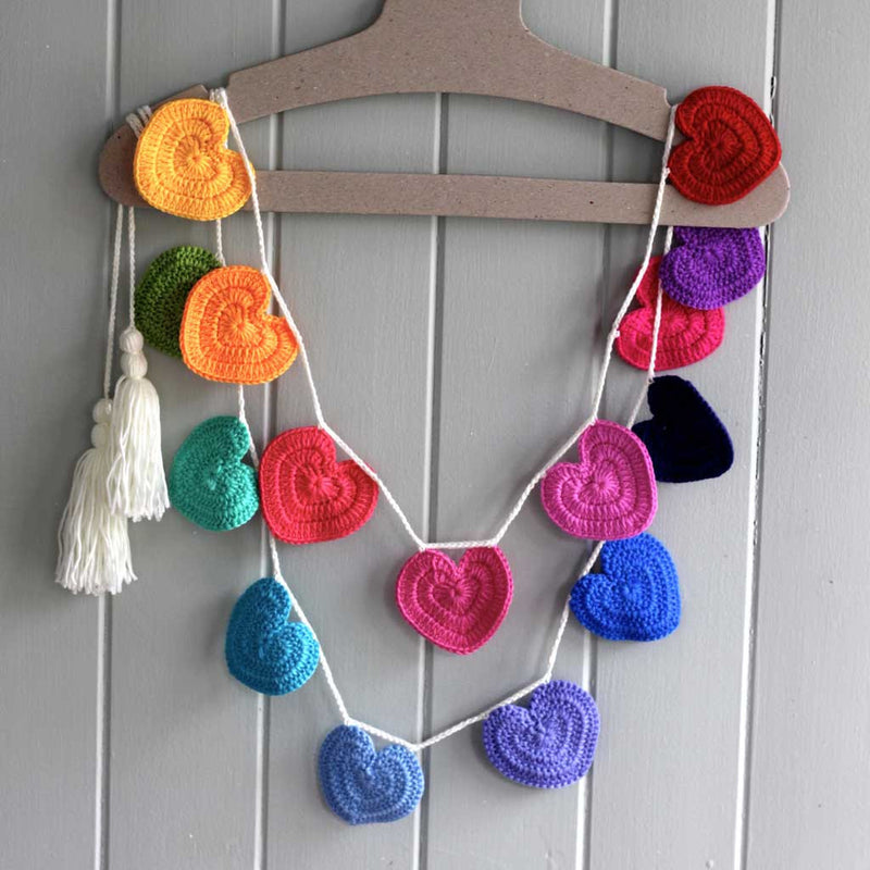 Heart Crochet Bunting / Rainbow - O.B.Designs USA