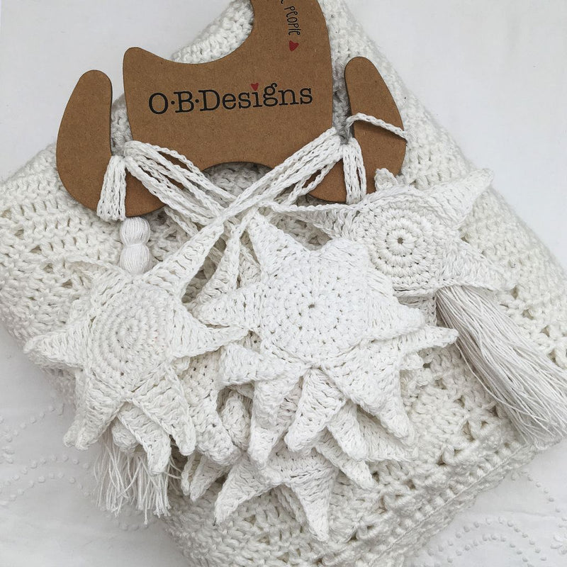Starfish Crochet White Bunting - O.B.Designs USA