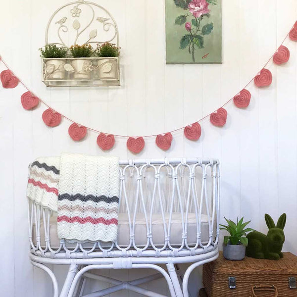 Heart Crochet Bunting / Pink - O.B.Designs USA