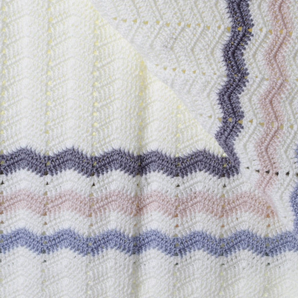 Crochet Baby Blanket | Handmade Blue Stripe | OB Designs
