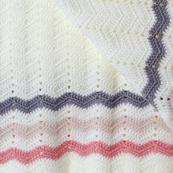 Hand Crochet Pink Stripe Blanket - O.B.Designs USA