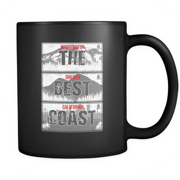The Best Coast Black & White License Plate Mugs