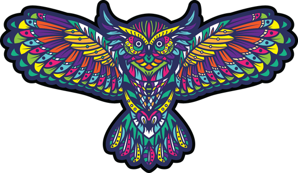 Kaleidoscope Owl Sticker- die cut