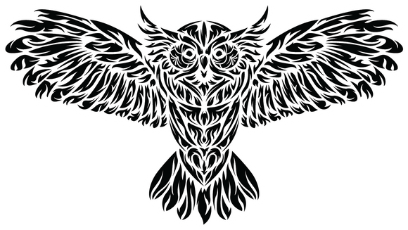 Tribal Owl Sticker - die cut