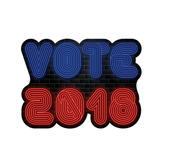 Vote 2018 Neon Sign Sticker | Election Day | November 6th 2018