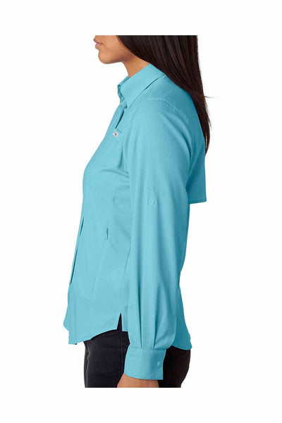 Columbia 7278 Clear Blue Tamiami II Polyester Long Sleeve Button Down Shirt Side
