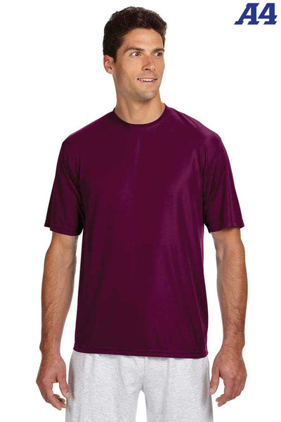 A4 N3142 Maroon Performance Polyester Cooling Short Sleeve Crewneck T-Shirt Front