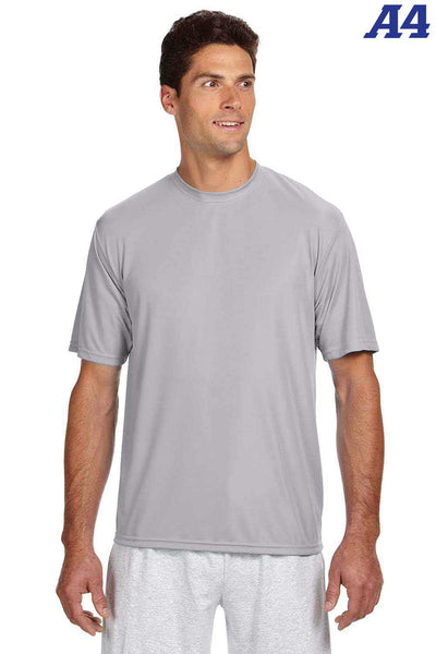 A4 N3142 Silver Grey Performance Polyester Cooling Short Sleeve Crewneck T-Shirt Front