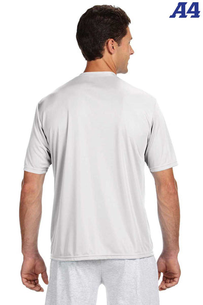 A4 N3142 White Performance Polyester Cooling Short Sleeve Crewneck T-Shirt Back