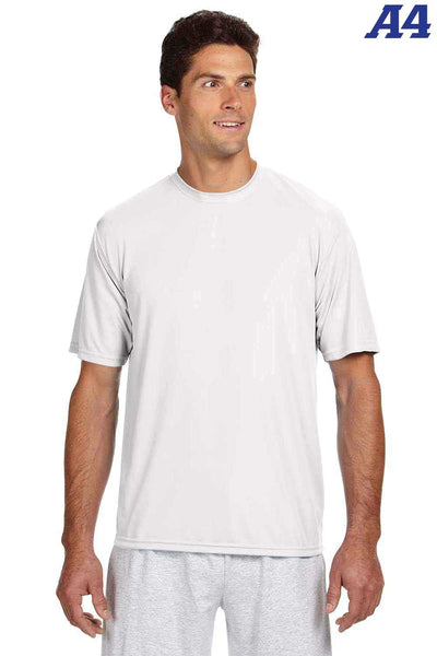 A4 N3142 White Performance Polyester Cooling Short Sleeve Crewneck T-Shirt Front