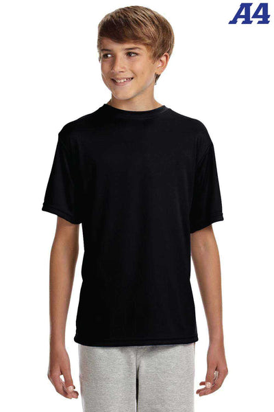 A4 NB3142 Black Performance Polyester Cooling Short Sleeve Crewneck T-Shirt Front