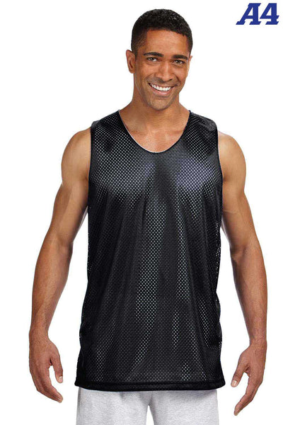A4 NF1270 Black Polyester Mesh Reversible Tank Top Front