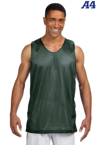 A4 NF1270 Forest Green Polyester Mesh Reversible Tank Top Front