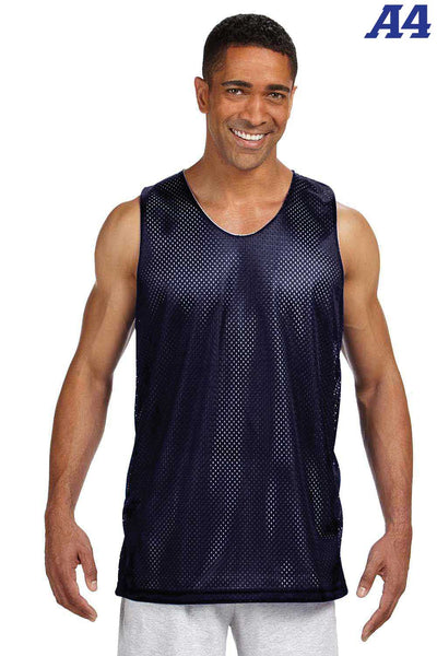 A4 NF1270 Navy Blue Polyester Mesh Reversible Tank Top Front
