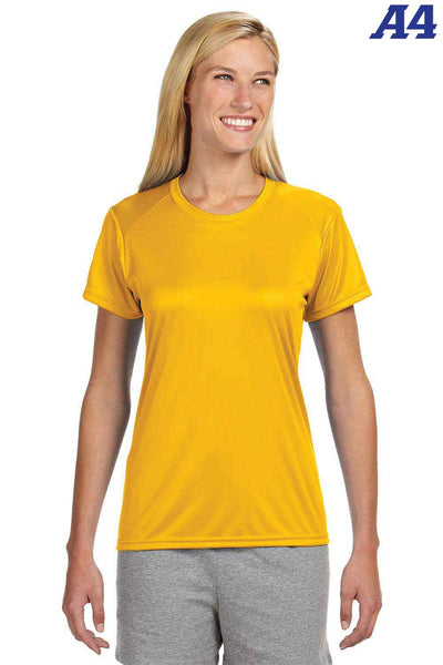 A4 NW3201 Gold Performance Polyester Cooling Short Sleeve Crewneck T-Shirt Front