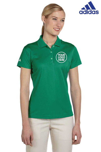 Adidas A131 Amazon Green Climalite Polyester Short Sleeve Polo Shirt Embroidery