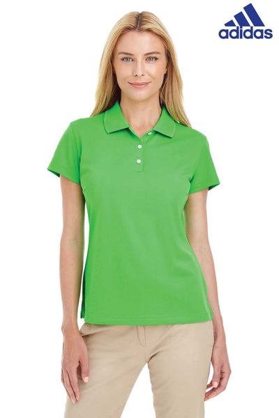 Adidas A131 Lime Green Climalite Polyester Short Sleeve Polo Shirt Front