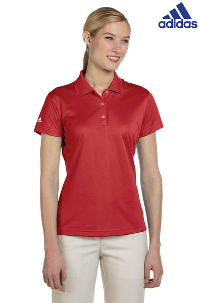 Adidas A131 Red Climalite Polyester Short Sleeve Polo Shirt Front