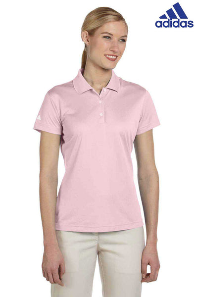 Adidas A131 Rose Pink Climalite Polyester Short Sleeve Polo Shirt Front