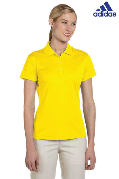 Adidas A131 Yellow Climalite Polyester Short Sleeve Polo Shirt Front