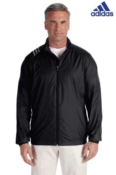 Adidas A169 Black 3 Stripes Polyester Jacket Front