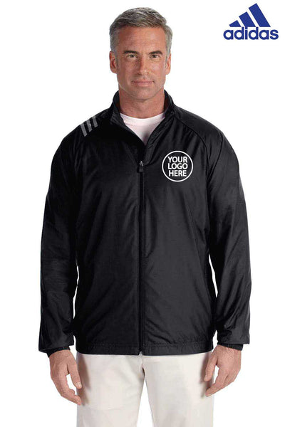 Adidas A169 Black 3 Stripes Polyester Jacket Embroidery