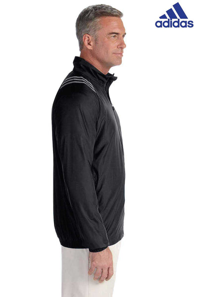 Adidas A169 Black 3 Stripes Polyester Jacket Side