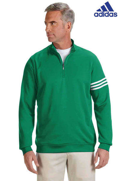 Adidas A190 Kelly Green Climalite Polyester 3 Stripes Sweatshirt Front