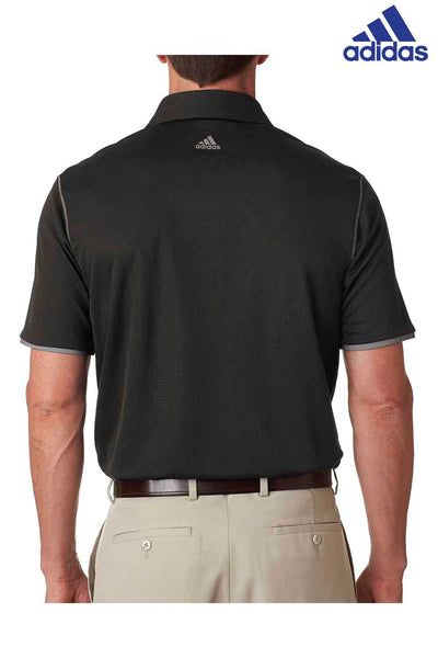 Adidas A221 Black ClimaCool Polyester Mesh Color Hit Short Sleeve Polo Shirt Back