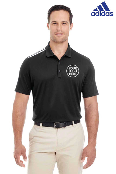 Adidas A233 Black 3 Stripes Climacool Polyester Short Sleeve Polo Shirt Embroidery