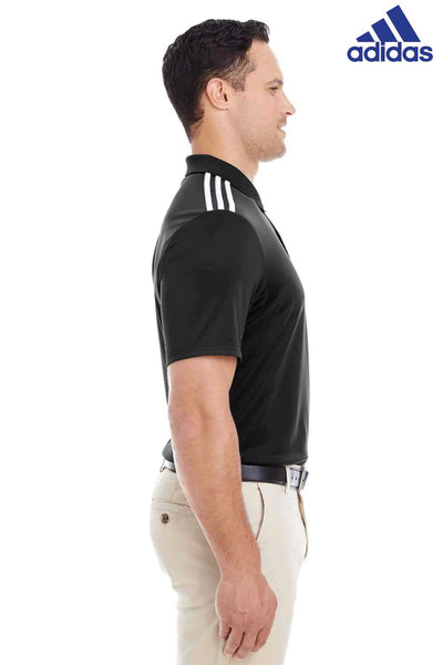 Adidas A233 Black 3 Stripes Climacool Polyester Short Sleeve Polo Shirt Side