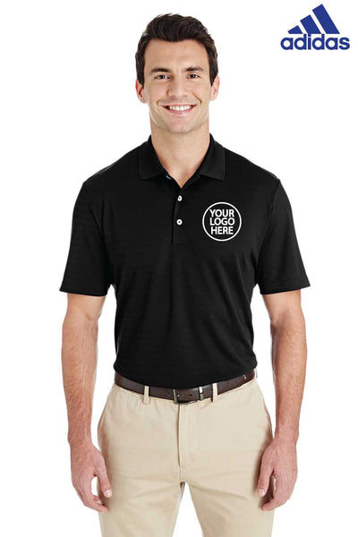Adidas A261 Black Micro Stripe Polyester Short Sleeve Polo Shirt Embroidery