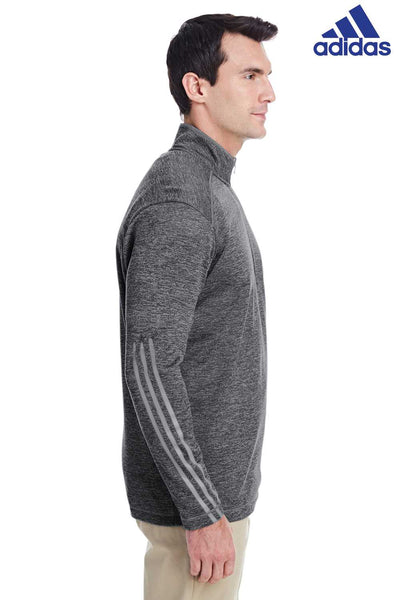 Adidas A284 Heather Black 3 Stripes Polyester Sweatshirt Side