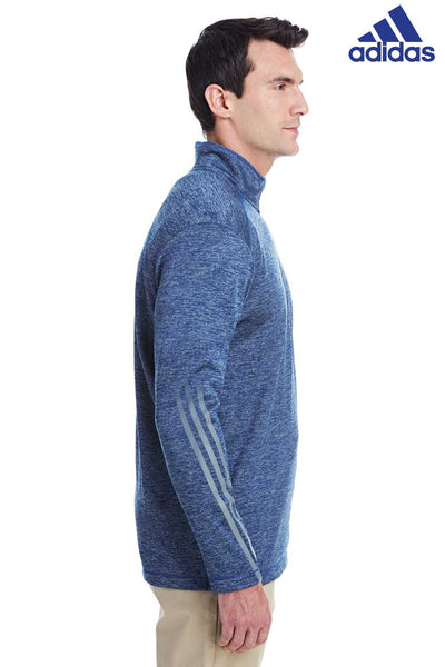 Adidas A284 Heather Royal Blue 3 Stripes Polyester Sweatshirt Side