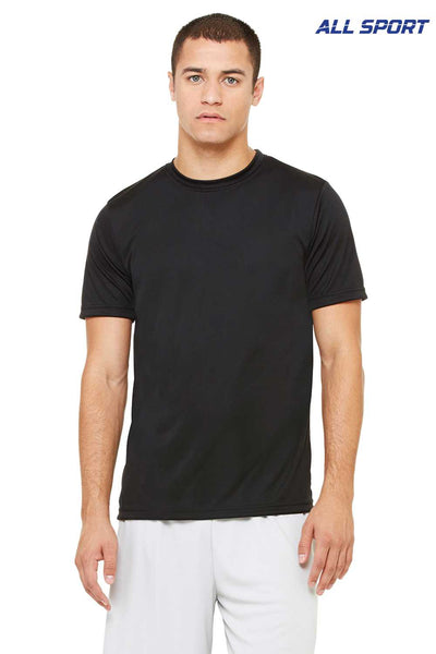 All Sport M1009 Black Performance Polyester Short Sleeve Crewneck T-Shirt Front