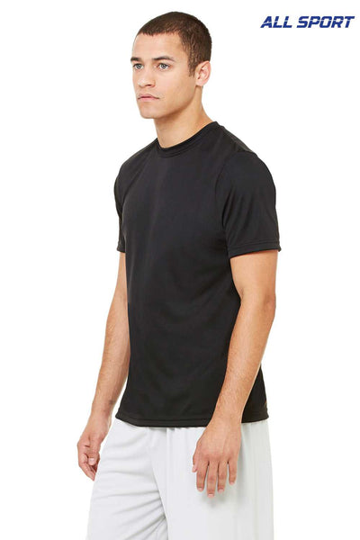 All Sport M1009 Black Performance Polyester Short Sleeve Crewneck T-Shirt Side