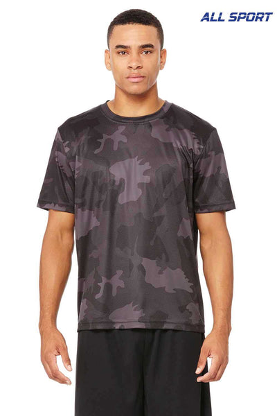 All Sport M1009 Black Laser Camo Performance Polyester Short Sleeve Crewneck T-Shirt Front