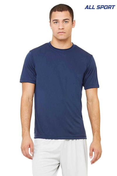 All Sport M1009 Dark Navy Blue Performance Polyester Short Sleeve Crewneck T-Shirt Front