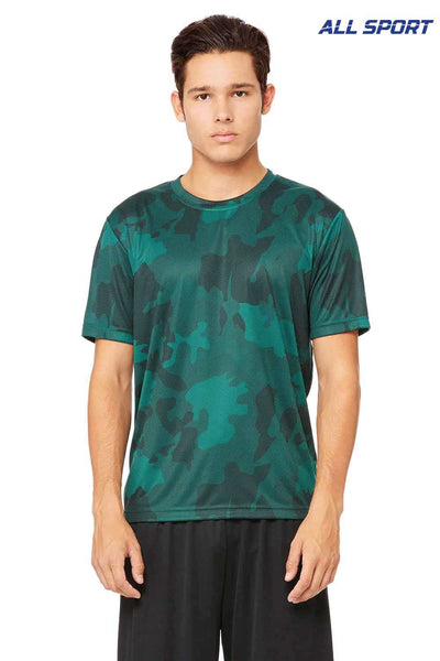 All Sport M1009 Forest Green Laser Camo Performance Polyester Short Sleeve Crewneck T-Shirt Front