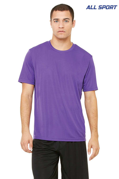 All Sport M1009 Purple Performance Polyester Short Sleeve Crewneck T-Shirt Front
