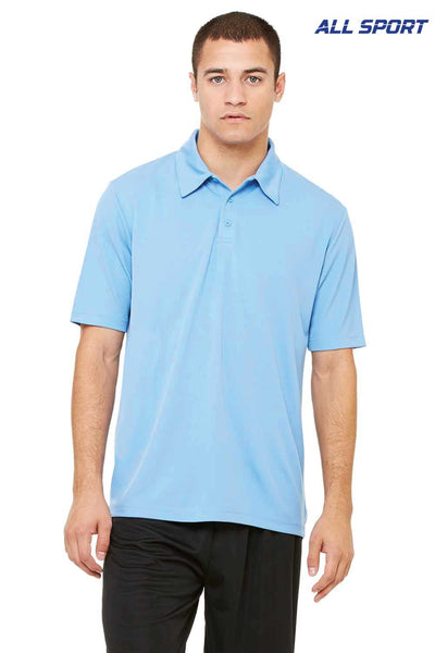 All Sport M1709 Light Blue Performance Polyester Mesh Short Sleeve Polo Shirt Front