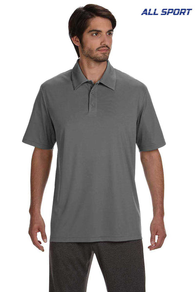 All Sport M1809 Graphite Grey Performance Polyester Short Sleeve Polo Shirt Front