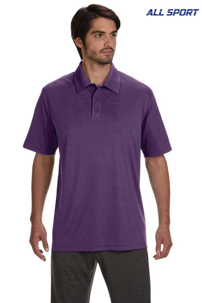 All Sport M1809 Purple Performance Polyester Short Sleeve Polo Shirt Front