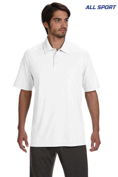 All Sport M1809 White Performance Polyester Short Sleeve Polo Shirt Front