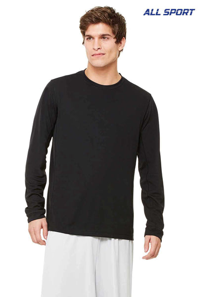 All Sport M3002 Black Polyester Long Sleeve Crewneck T-Shirt Front
