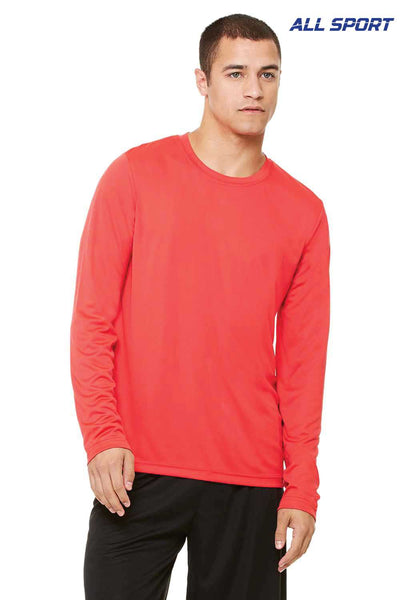 All Sport M3009 Red Performance Polyester Long Sleeve Crewneck T-Shirt Front