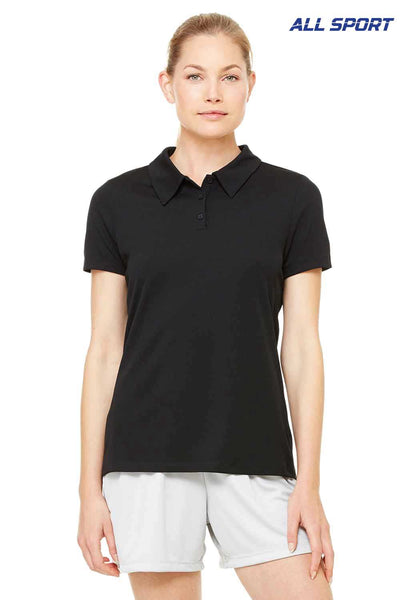 All Sport W1709 Black Performance Polyester Mesh Short Sleeve Polo Shirt Front