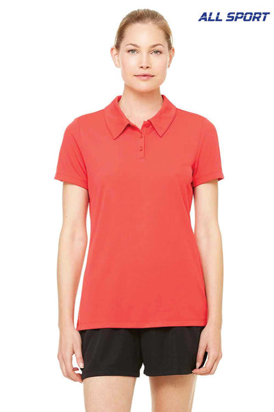 All Sport W1709 Red Performance Polyester Mesh Short Sleeve Polo Shirt Front